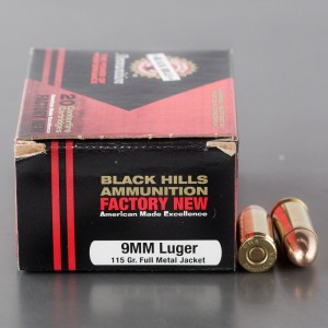 20rds - 9mm Luger New Black Hills 115gr. FMJ Ammo