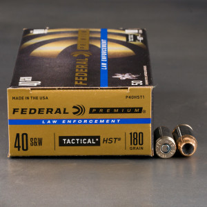 50rds - 40 S&W Federal LE Tactical HST 180gr. HP Ammo