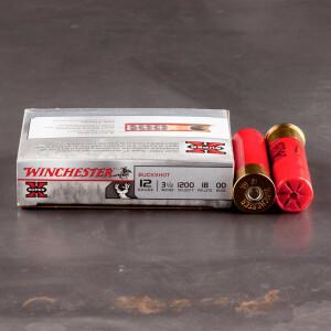 "5rds - 12 Gauge Winchester 3 1/2"" 18 Pellet 00 Buckshot Ammo"