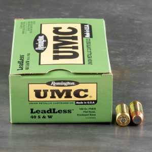 50rds - 40 S&W Remington UMC 180gr. Flat Nose Enclosed Base Leadless Ammo