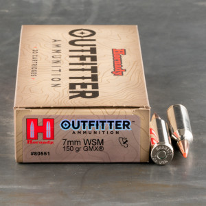 20rds – 7mm WSM Hornady Outfitter 150gr. GMX Ammo