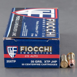 500rds - 25 Auto Fiocchi 35gr XTP Hollow Point Ammo