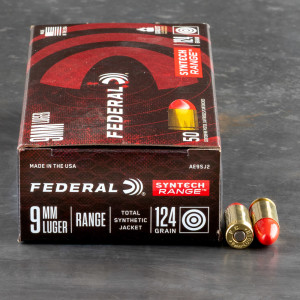 50rds – 9mm Federal Syntech 124gr. Total Synthetic Jacket RN Ammo