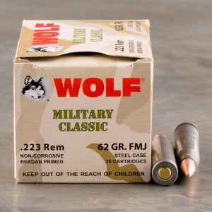 20rds - 223 Wolf WPA Military Classic 62gr. FMJ Ammo
