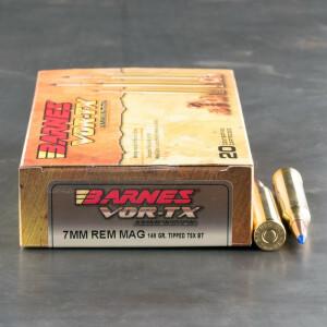 20rds - 7mm Rem Mag Barnes VOR-TX Polymer Tip 140gr. Tipped TSX Boattail Ammo