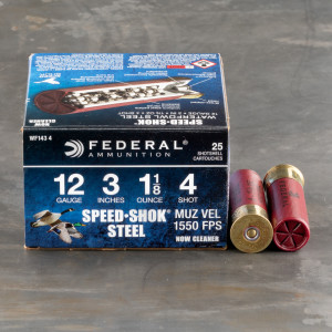 "25rds - 12 Ga. Federal Speed-Shok 3"" 1 1/8oz. #4 Steel Shot Ammo"