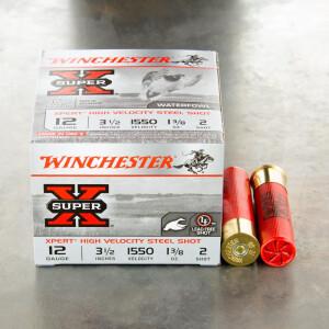 "25rds – 12 Gauge Winchester Super-X High Velocity 3-1/2"" 1-3/8 oz. #2 Steel Shot Ammo"