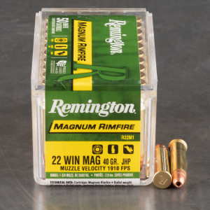 50rds – 22 WMR Remington 40gr. JHP Ammo