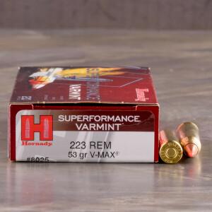 20rds - .223 Hornady Superformance Varmint 53gr. V-Max Polymer Tip Ammo