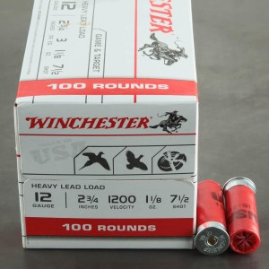 "100rds - 12 Gauge Winchester USA Heavy Game & Target 2-3/4"" #7.5 Shot Ammo"