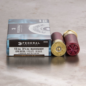 250rds - 12 Ga. Federal Power Shok Low Recoil 9 pell. 00 Buckshot Ammo