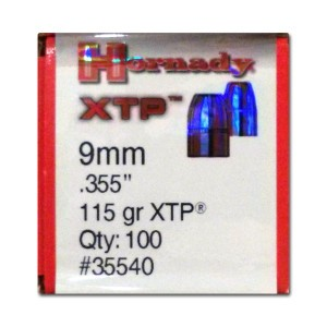 100pcs - 9mm Hornady 115gr. XTP Bullets