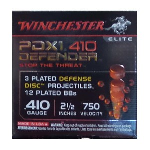 "100rds – 410 Bore Winchester Defender 2-1/2"" 3 Defense Discs & 12 BBs Combo Ammo"
